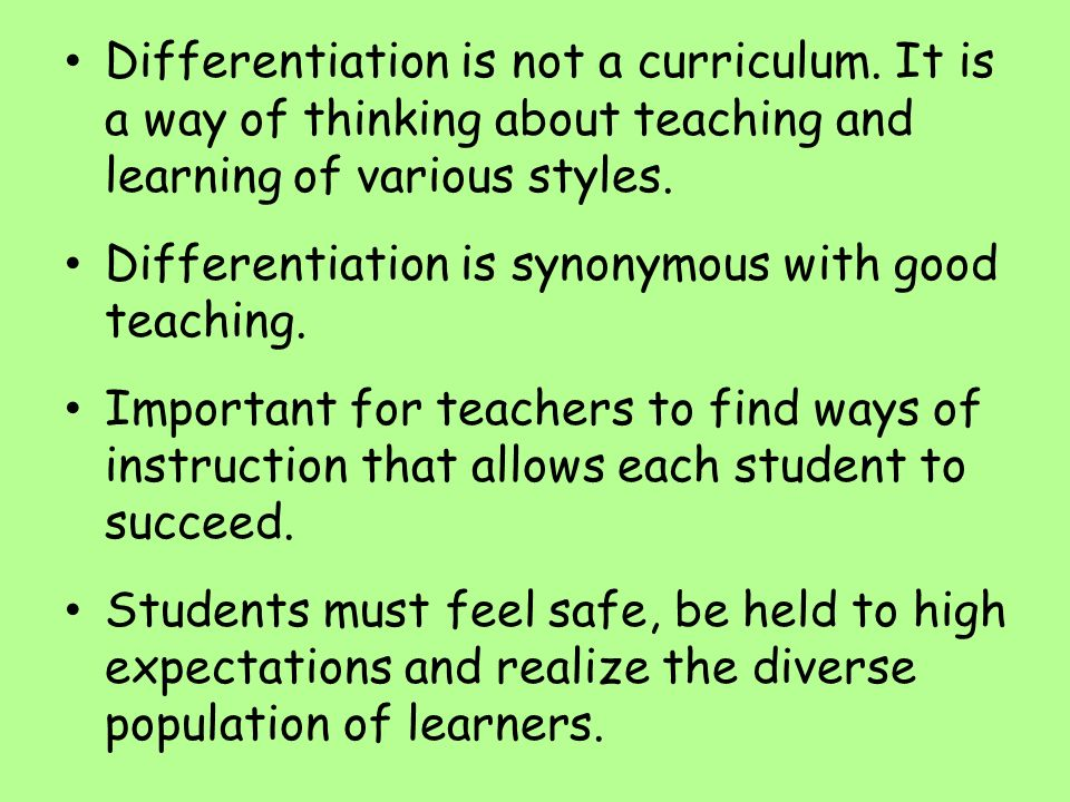 Differentiation is not a curriculum