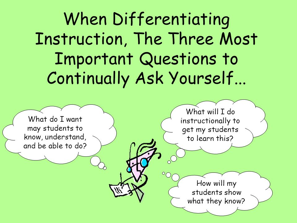 When Differentiating Instruction, The Three Most Important Questions to Continually Ask Yourself...