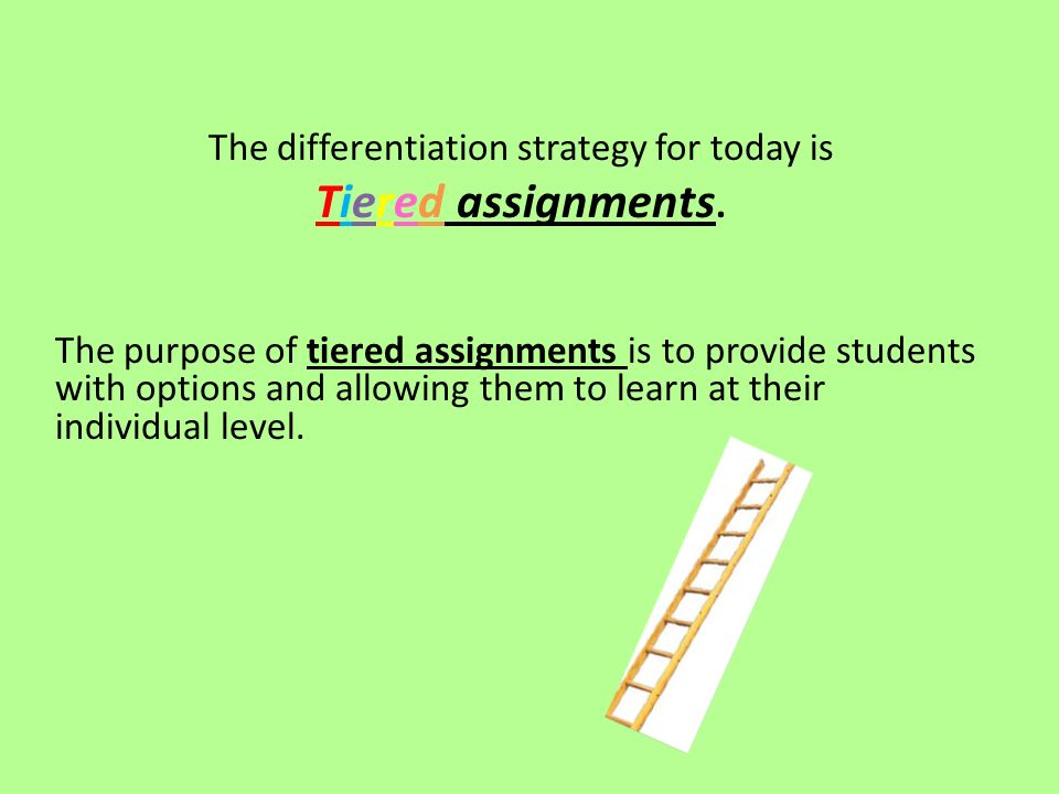 The differentiation strategy for today is