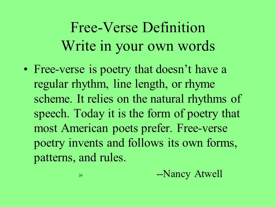 Free Form Poetry Definition