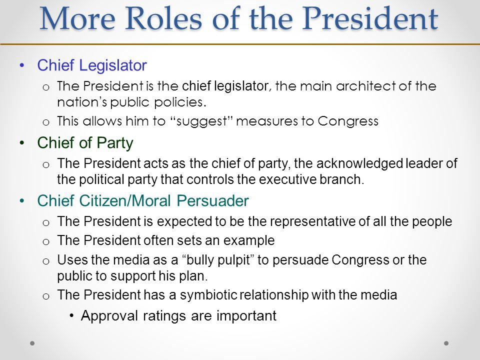 multiple roles of the president american Diagnostic/quiz+ multiple-choice the institution of the american presidency has grown in power and what was the president's role during the era of.