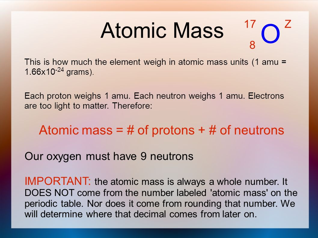 Periodic table atomic weight images periodic table images ions and isotopes ppt video online download o atomic mass atomic mass of protons of neutrons gamestrikefo Images