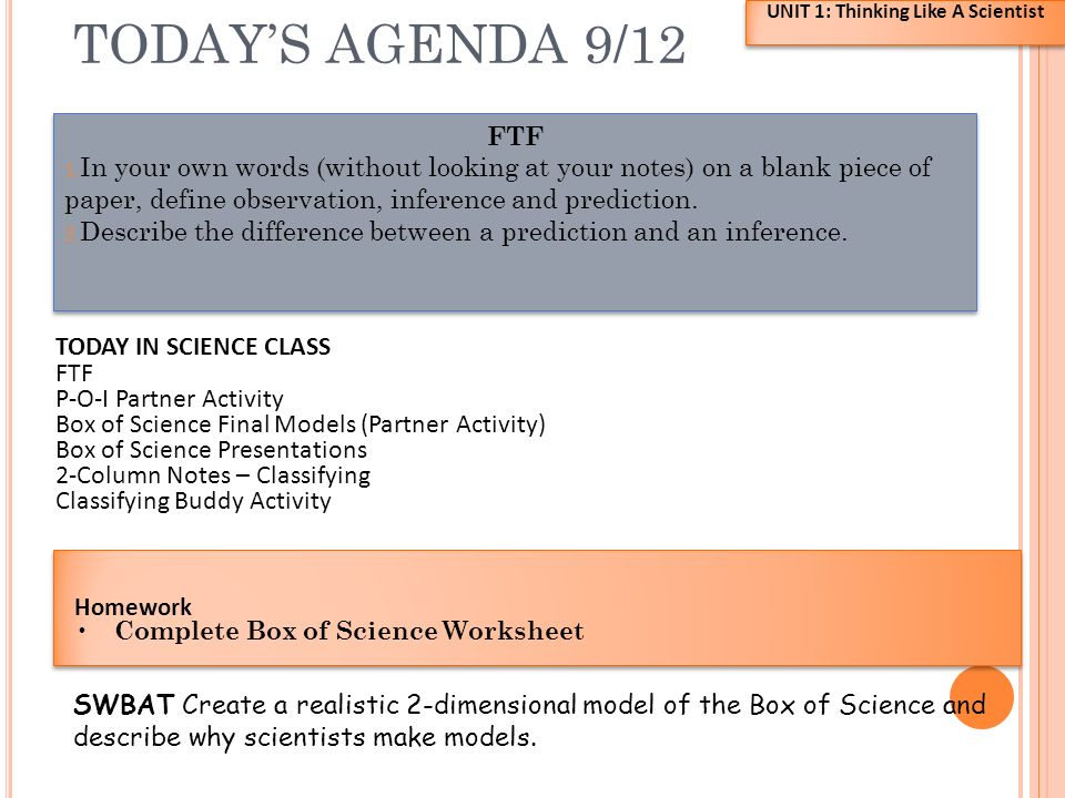 TODAY S AGENDA 9 12 UNIT 1 Thinking Like A Scientist FTF