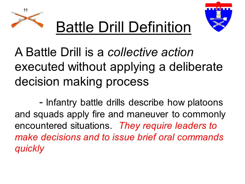 battle drills Find all information about us military training get cbrne course instructions, warrior tasks and battle drills as well as power point classes and much more at ncosupportcom.