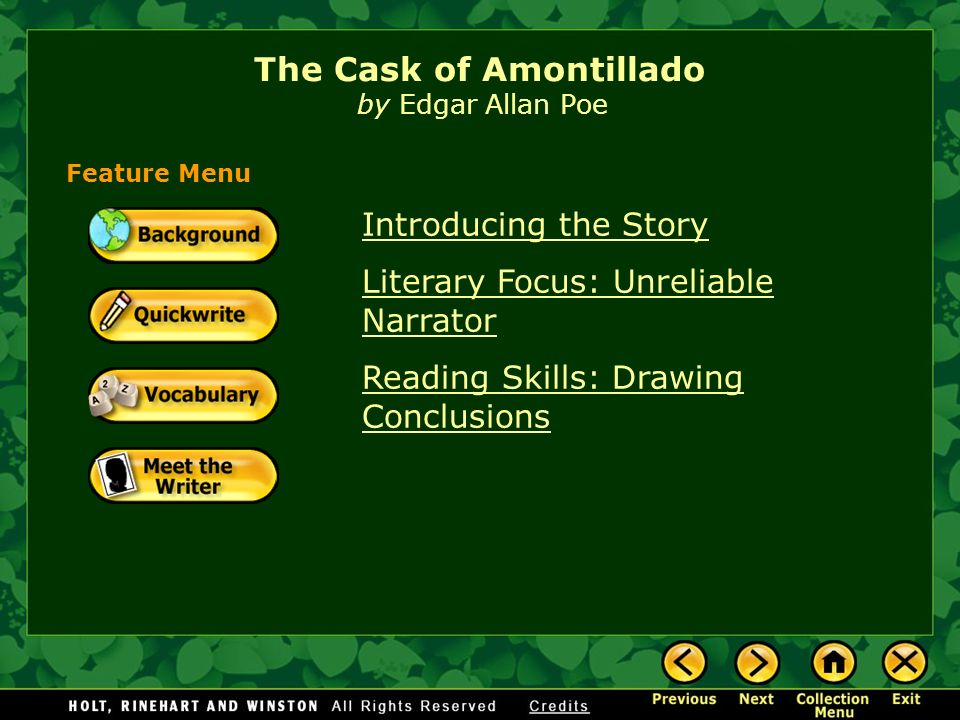 a literary analysis of revenge in the cask of amontillado by edgar allan poe Edgar allan poe, story/literary analysis - the revenge of the cask of amontillado.