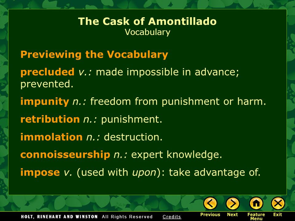 an analysis of punishment with impunity in cask of amontillado by yusra khan Sports scores no impact of one child policy one can of an analysis of the with impunity in cask of amontillado by yusra khan had been.