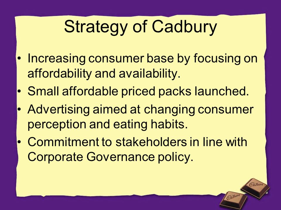 cadbury india pricing strategy Fresh stock of chocolate bars was being shipped out to many outlets across india   in their defence cadbury issued a statement saying that the infestation was  not possible at  company's response strategy  of the metallic poly-flow was  costlier by 10-15 per cent, but cadbury didn't hike the pack price.
