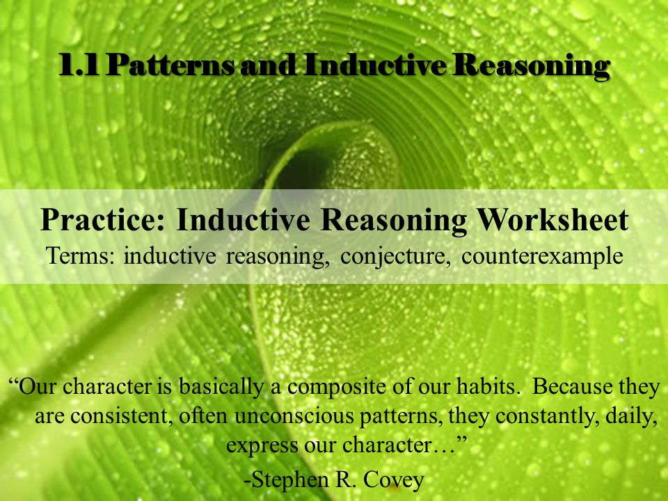 Review and 11 Patterns and Inductive Reasoning ppt download – Inductive Reasoning Worksheet