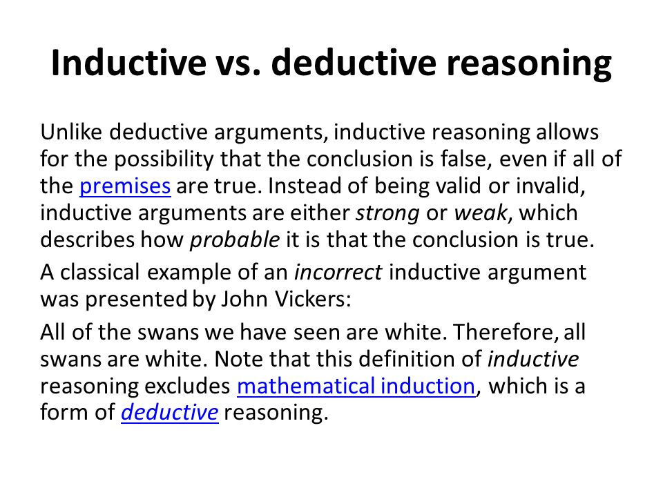deeductive reasoning From a general summary to chapter summaries to explanations of famous quotes , the sparknotes geometry: inductive and deductive reasoning study guide.