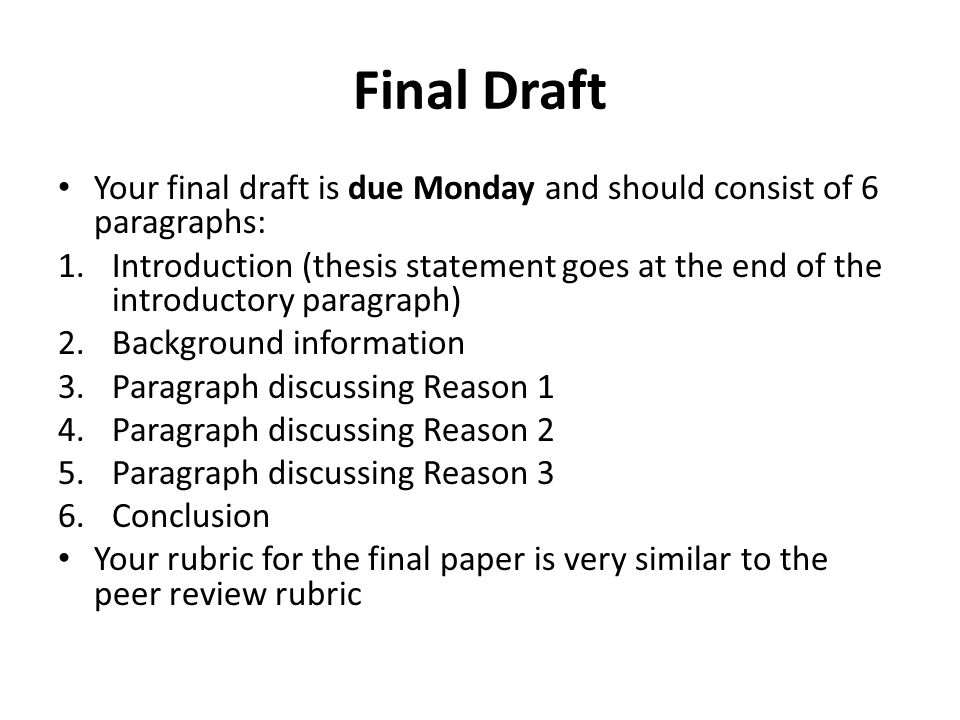 final paper introduction Review the assignment instructions for the final paper in week five submit an outline for your final paper that includes the following: develop an introduction with a thesis statement for the final paper.