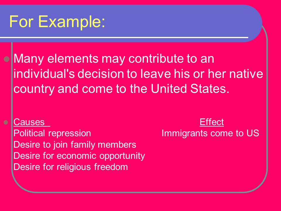 For Example: Many elements may contribute to an individual s decision to leave his or her native country and come to the United States.