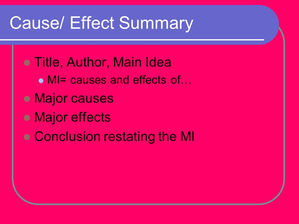 Cause/ Effect Summary Title, Author, Main Idea Major causes