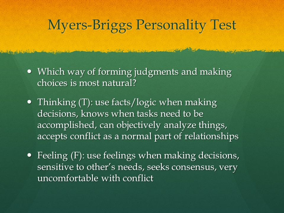thinking and feeling test Jungian cognitive functions  thinking, feeling  personality could be measured through responses to a personality test she devised along.