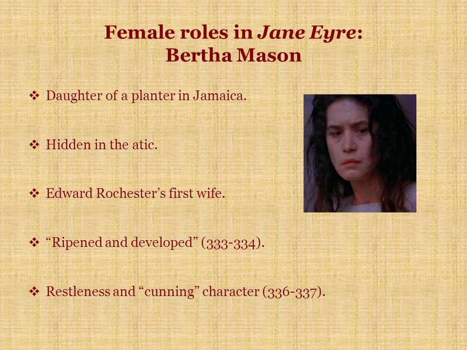 bertha mason jane eyre Bertha mason is a complex presence in jane eyre she impedes jane's happiness, but she also catalyses the growth of jane's self-understanding she impedes jane's happiness, but she also catalyses the growth of jane's self-understanding.