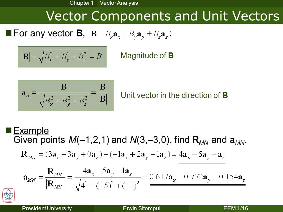analysis of vectors