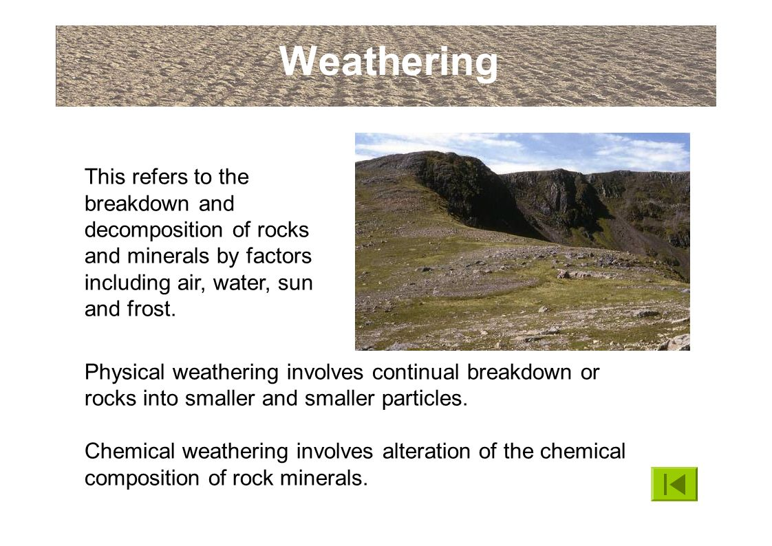 an introduction to the issue of chemical weathering Navigation: back to module two introduction physical weathering (some material on this page borrowed from usgs) physical weathering the two main types of weathering are physical and chemical weathering.