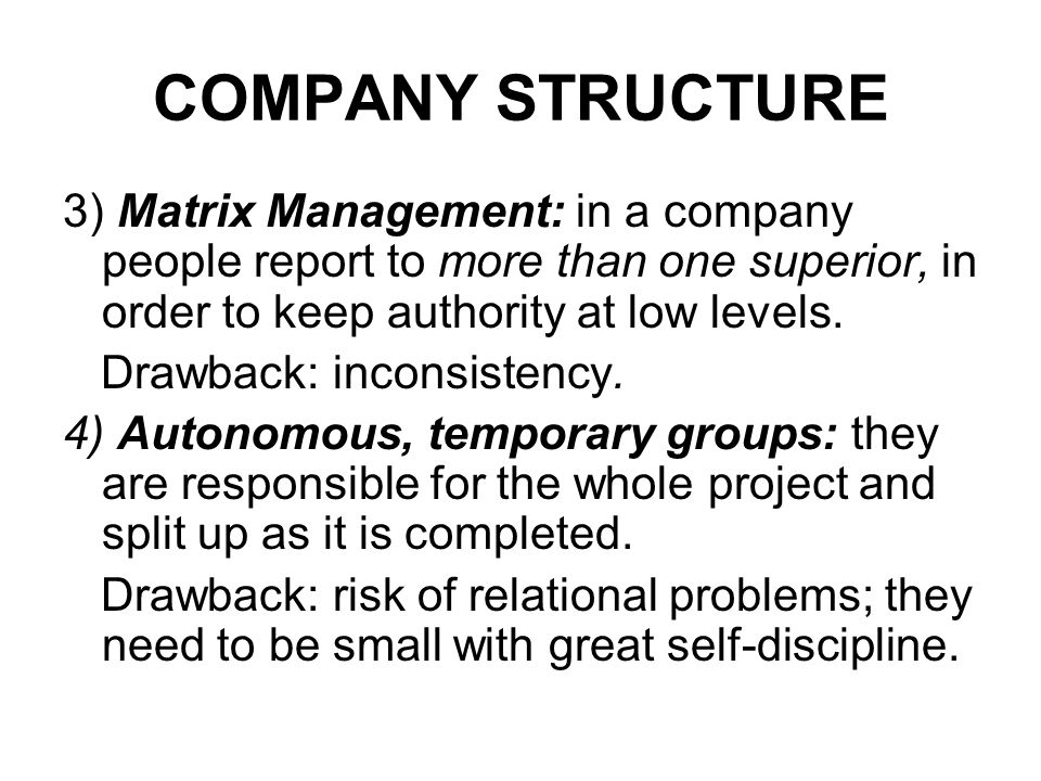 Peter drucker an introductory view of management ppt video company structure 3 matrix management in a company people report to more than one sciox Choice Image