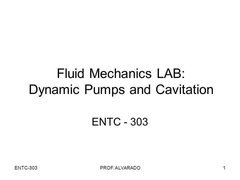 Fluid Mechanics LAB: Dynamic Pumps and Cavitation