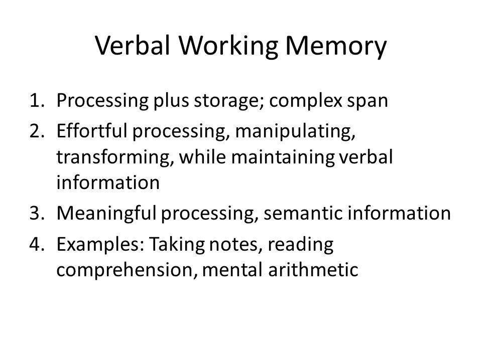 memory span and word complexity To assess working memory ability in iwa, span tasks involving digits, words,  letters, and nonwords  digits backward is thought to be a more complex span  task.