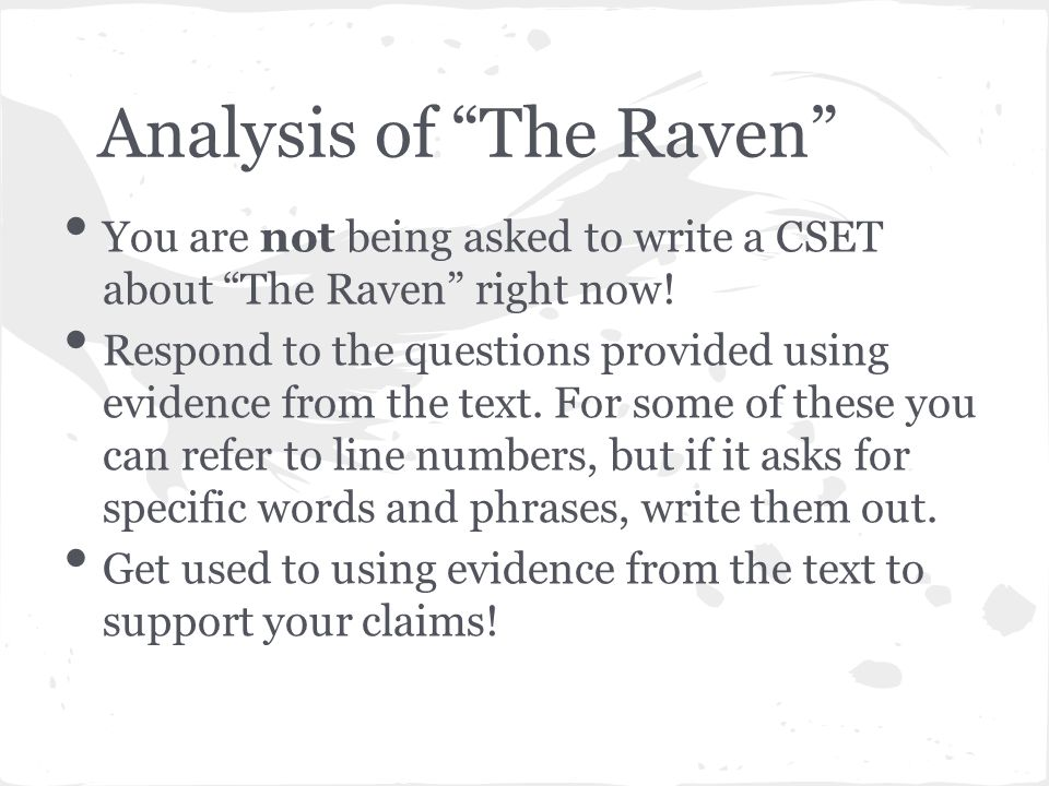 essay question for the raven Essay on the raven - allow us to help with your essay or dissertation commit your paper to experienced scholars engaged in the platform essay question on the raven.