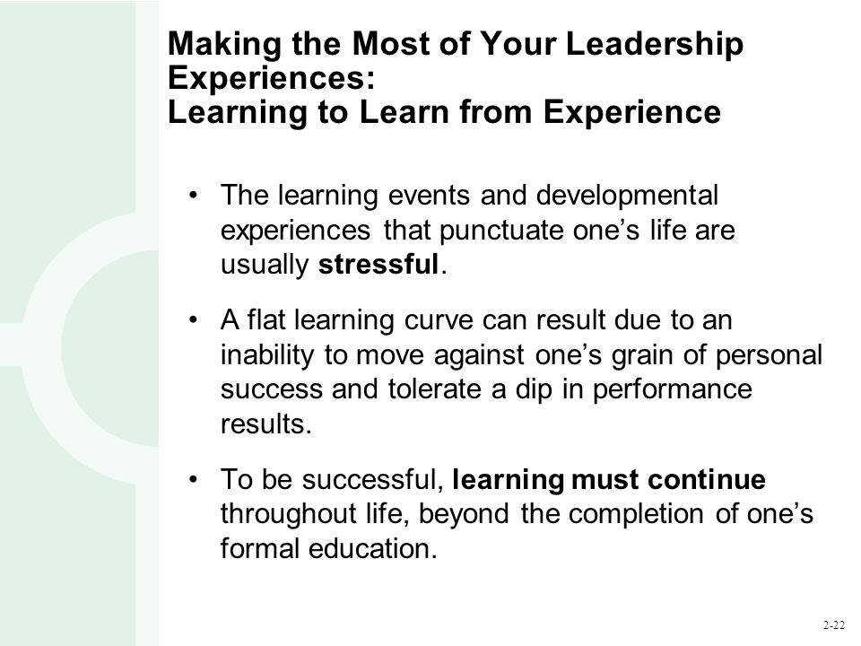 successful learning experience in your life The aim of this chapter is to highlight the advice, insights and learning from experience that women at cambridge identified as most important a digest of this sort runs the risk of generalisation, especially when working with such a diverse group of women but despite the individual nature of each person's contribution, there.
