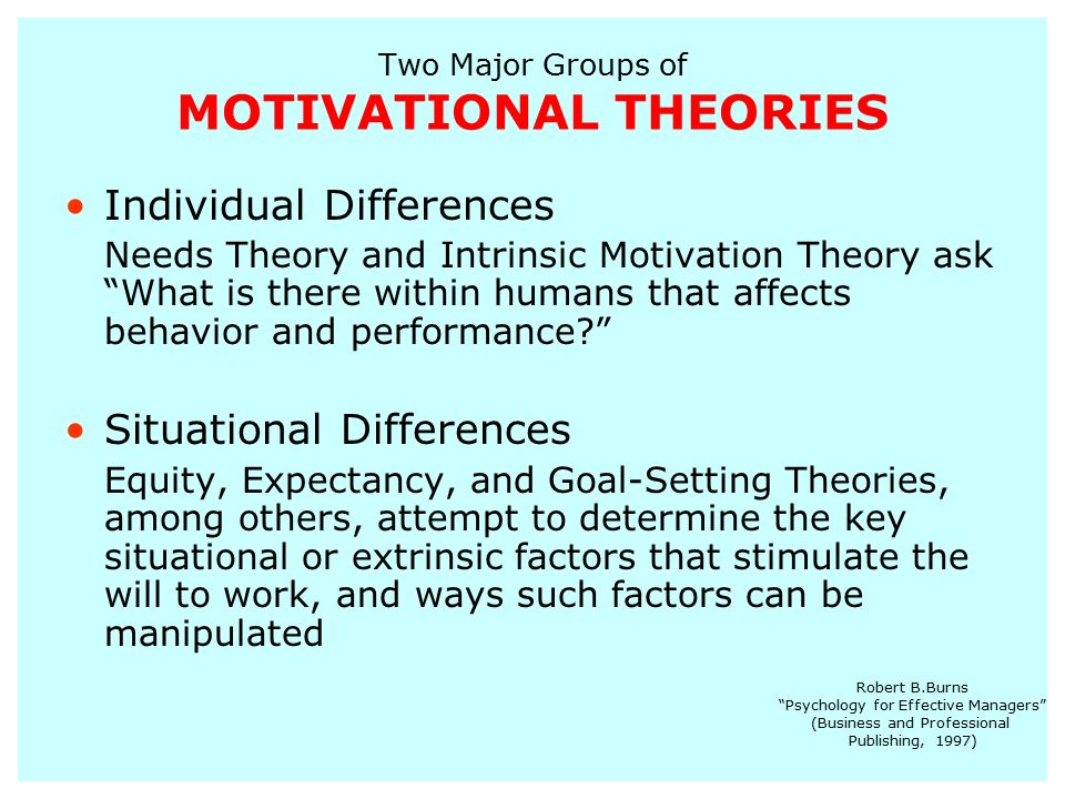 motivational theories and factors Individual differences in personality and motivation:  i conclude with the suggestion that an analysis of the motivational  cognitive and motivational theories.