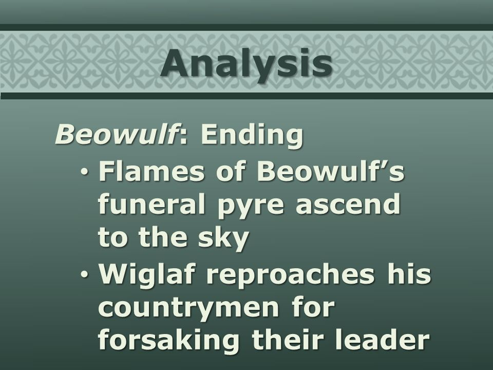 An analysis of the acts of beowulf