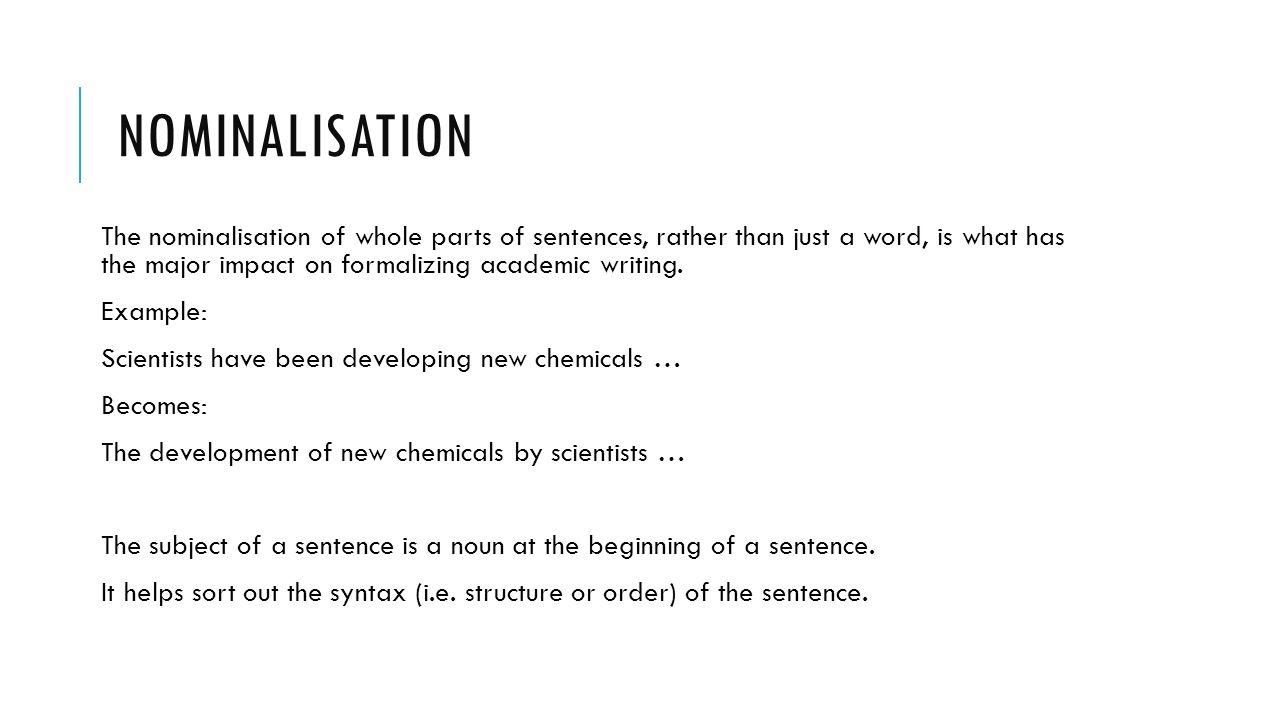 Writing with #mdxImpact: Nominalisation