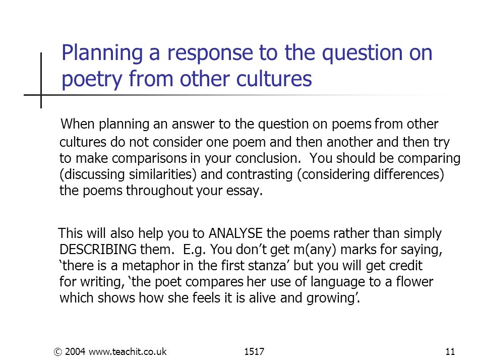 poetry from other cultures 2 essay Example essay plan your free preview of york notes plus+ 'poems from different cultures and traditions: gcse' has expired either purchase below, or click on the video below to learn more.