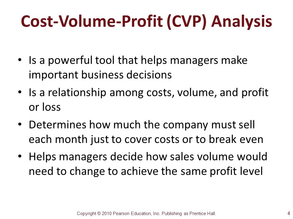 an analysis of costs profits and break of a company A breakeven analysis is used to determine how much sales volume your business needs to start making a profit, based on your fixed costs, variable costs, and selling price the breakeven analysis is often used in conjunction with a sales forecast when developing a pricing strategy, either as part of a marketing plan or a business plan.