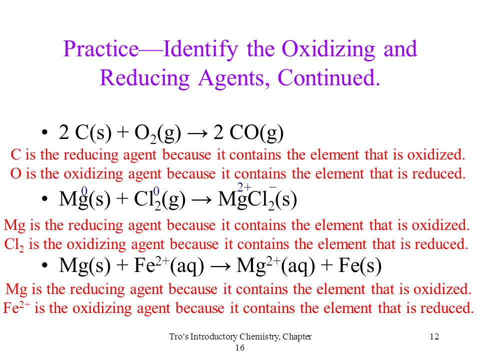how to tell if element is oxidizing or reducing agent