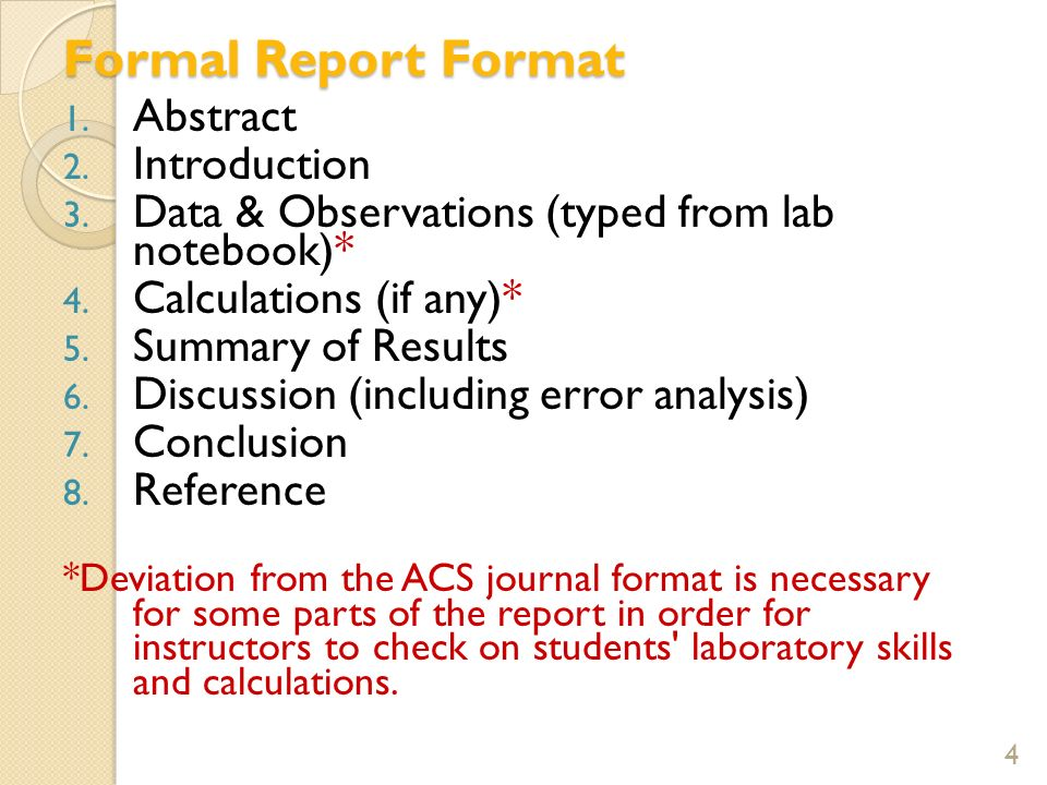 A written record of science ppt download – Layout of a Formal Report