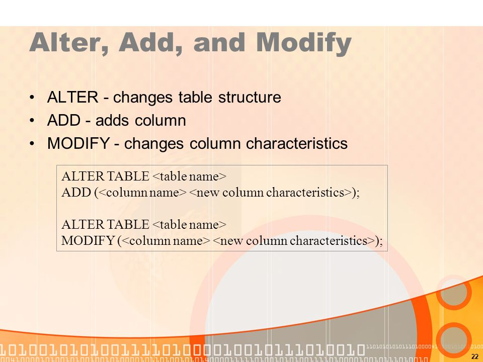 Sql structured query language ppt video online download - Alter table modify column ...