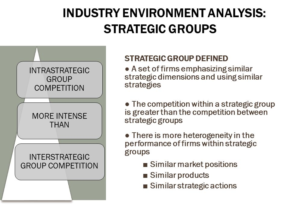 strategic group analysts of bp group As the strategic group analysis approach to analysing competitive industry structure indicates, in addition to structural characteristics of an industry, it is also important to assess how a company's competitors compete (their strategies) and to what purpose (their objectives.