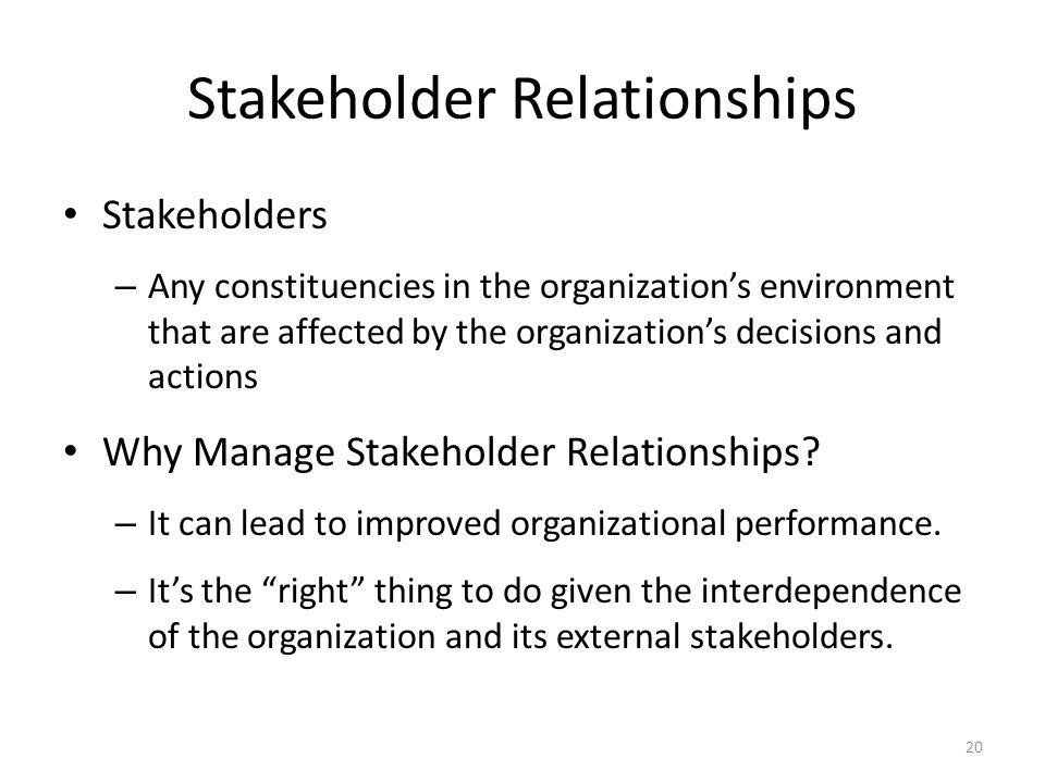 stakeholders in employee relationships Purpose of this competency for cra collaboration with partners and stakeholders encourages employees to build and maintain working relationships that will help them obtain essential information or assistance in order to advance cra business objectives.