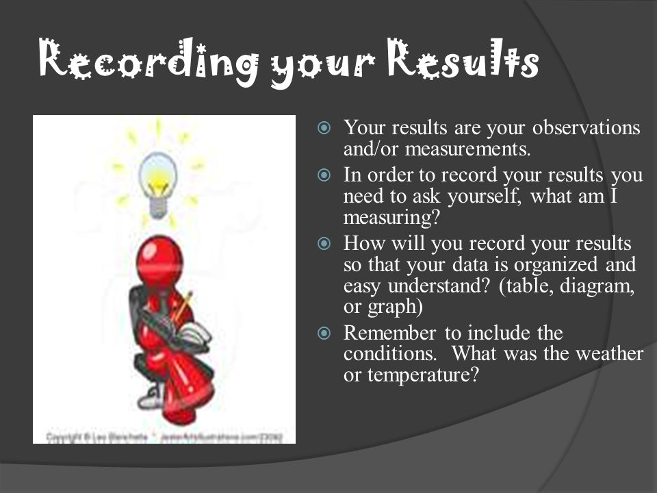 Recording your Results