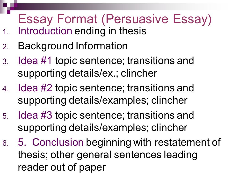 ending sentence for a persuasive essay Introduction and conclusion these represent the most serious omission students regularly make every essay or paper designed to be persuasive needs a paragraph at the very outset introducing both the subject at hand and the thesis which is being advanced.