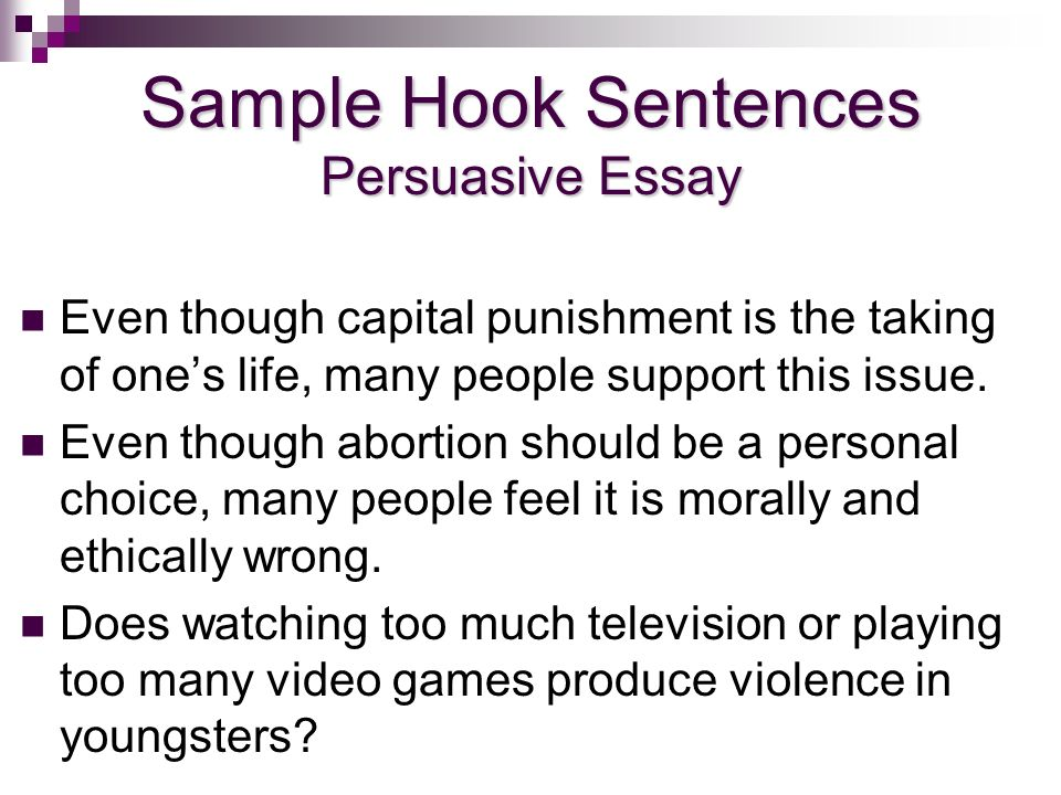 Good hook sentence examples for persuasive essay