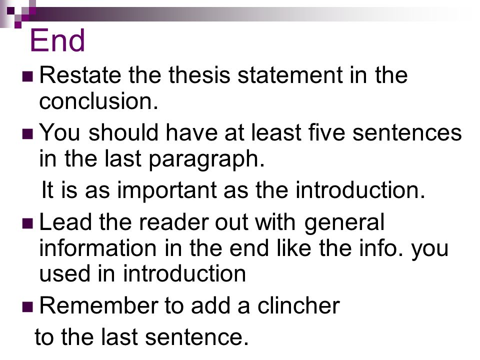 what is restate thesis statement