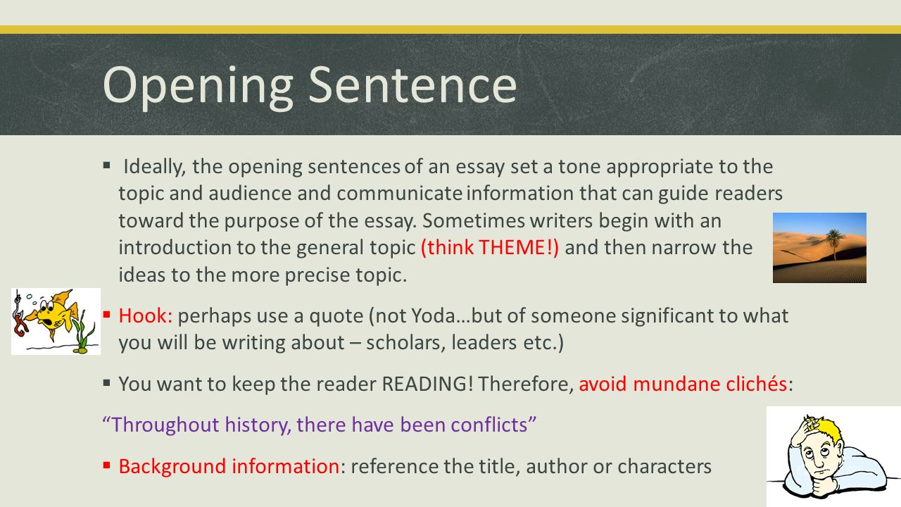 parts of an essay english ppt opening sentence