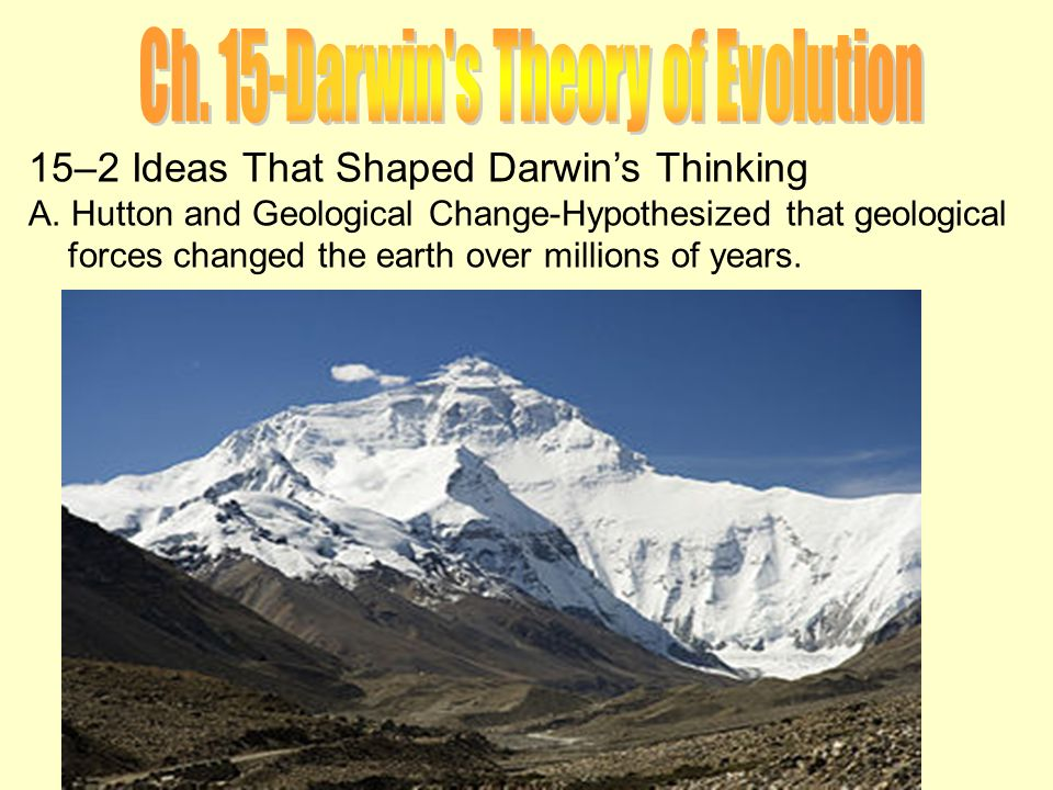 darwinism the theory that shook the world He developed the theory of uniformitarianism, which holds that the earth is very  old  as darwin began to read, he was shocked to find that wallace's theory was .