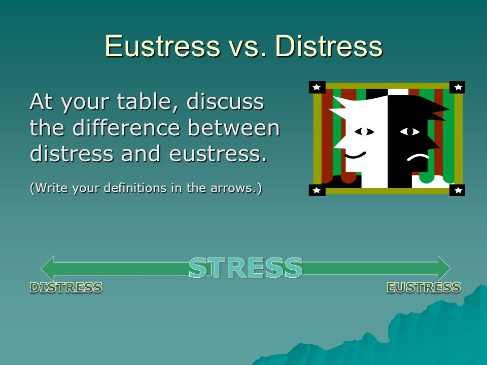 an analysis of stress management and eustress a healthy stressor Eustress is the accepted term for stress that has positive implications - like, say, focusing your energy when you're on a deadline (perhaps when writing an article about stress management.