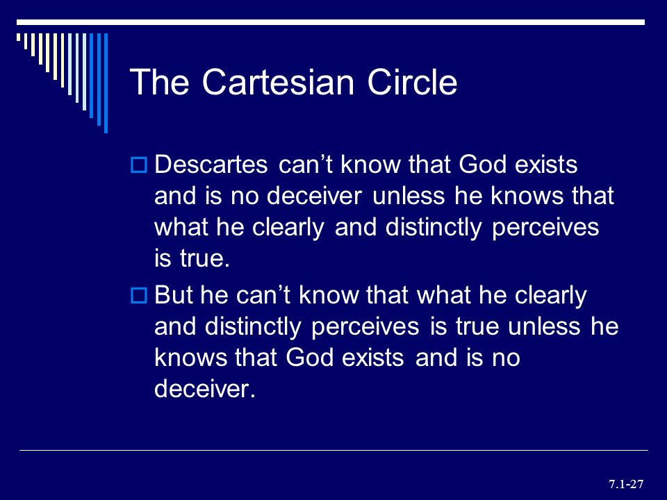 "descartes problem of the cartesian circle René descartes was born this is what is known as the ""cartesian circle,"" because descartes' reasoning this could be a serious problem for descartes."