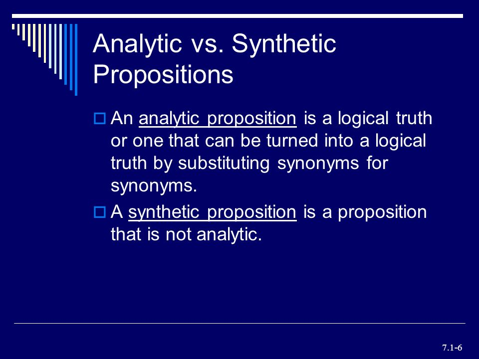 an introduction to the synthetic a priori propositions Kant synthetic a priori kant's synthetic a priori in the introduction to his prolegomena to any future metaphysics a synthetic proposition holds the.