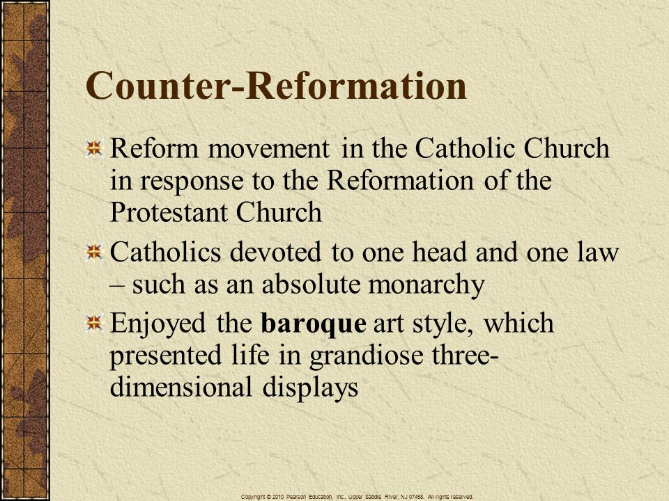 catholic reformation and baroque style The baroque has been called a theatrical style, one that deals in spectacle, grandeur, and dramatic contrast test these concepts in an essay that discusses the baroque as an expression of the catholic reformation, protestant devotionalism, the scientific revolution, and the age of absolutism define your general.