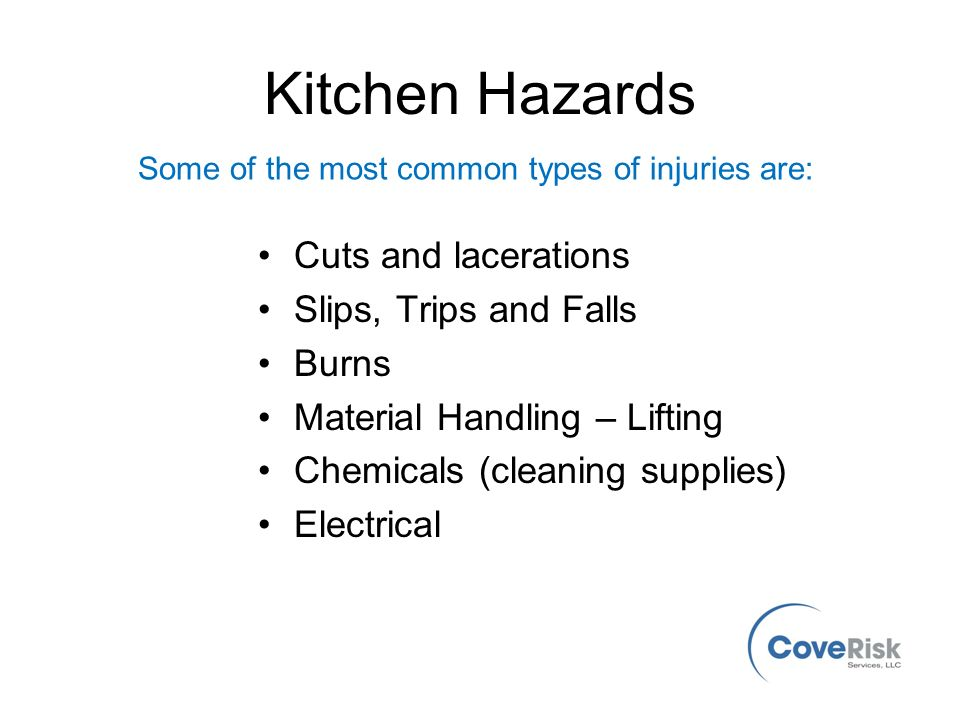 Kitchen safety safety awareness for everyone from cove for 5 kitchen safety hazards