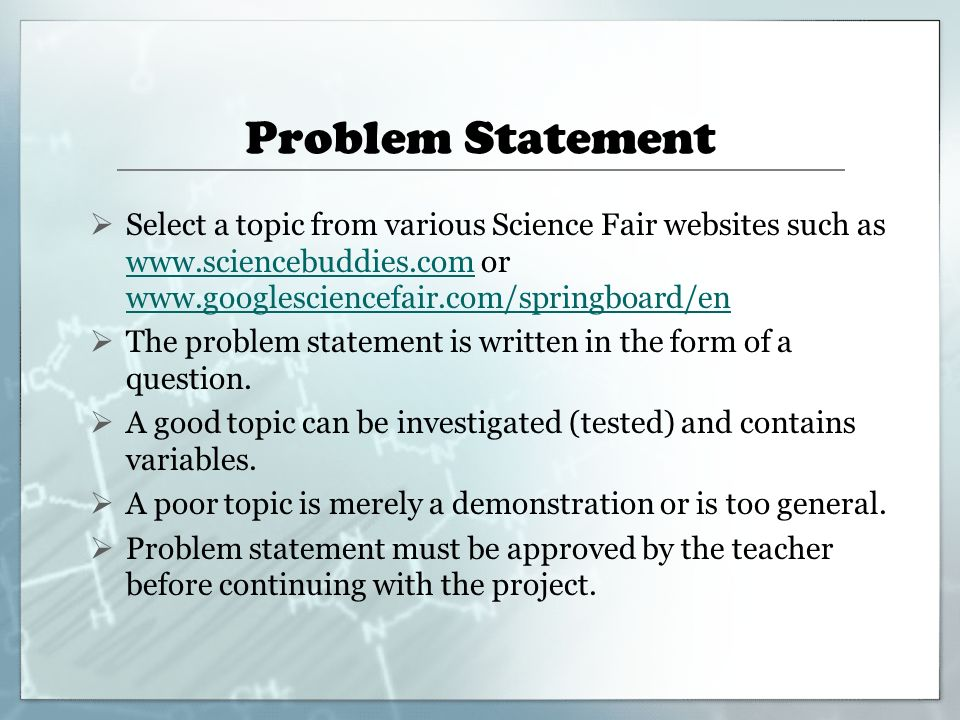 How to write a problem statement for science fair