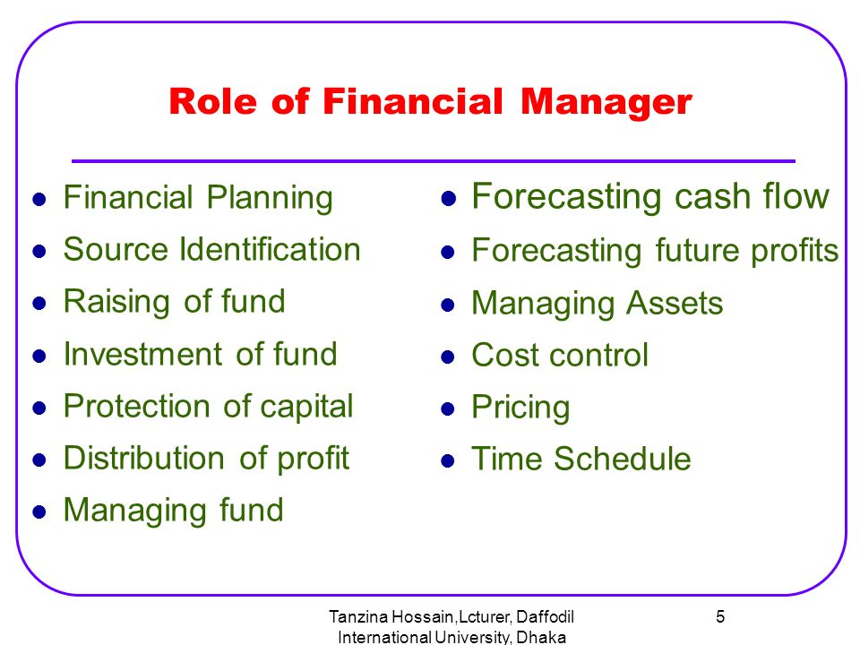role of financial manager Financial management in the healthcare industry means handling financial operations, like negotiating contracts and managing cash flow.