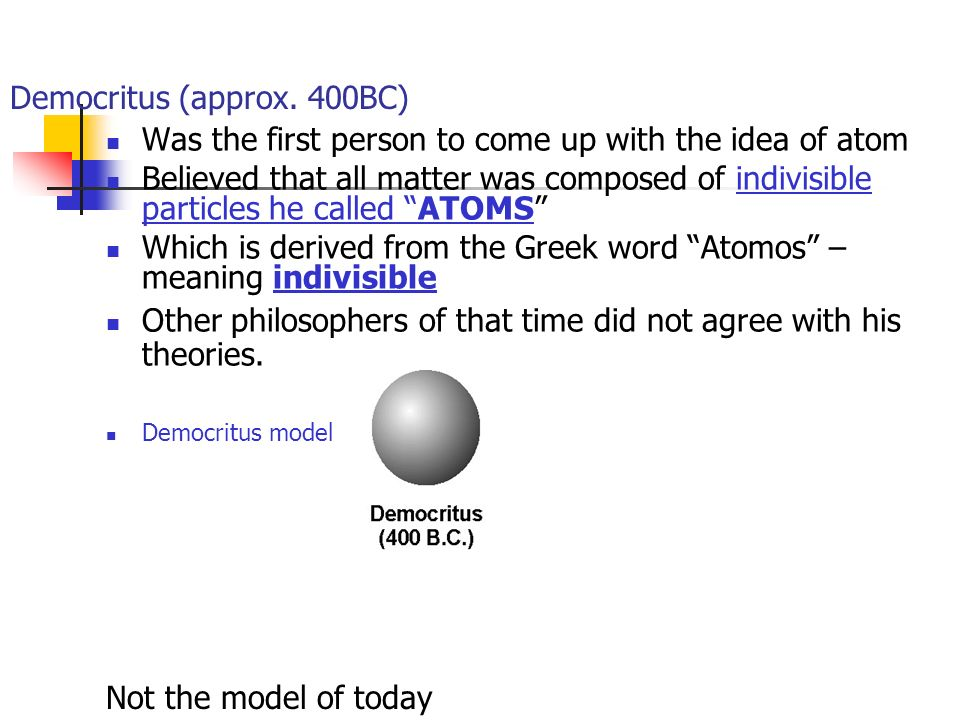 History of atomic theory from democritus to rutherford ppt video 2 democritus approx ccuart Gallery