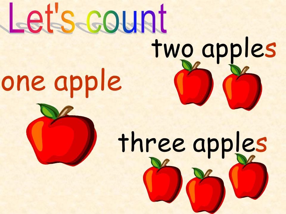 Let s count two apples one apple three apples